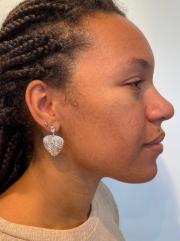 white topaz leaf textured earrings