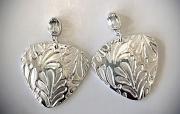 White Topaz Leaf- Textured Earrings