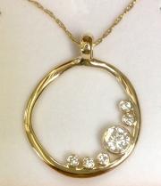 Gold and Diamond Circle Pendant