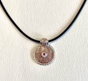 rose fern enamel pendant