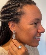 fleur leaf earrings and cedar leaf ring with blue topaz