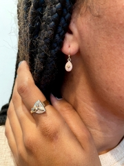 teardrop bi-metal earrings and gold/ diamond ringring