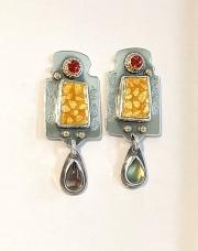 red sapphire enamel earrings